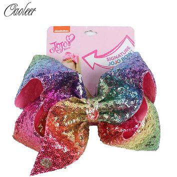 8'' Large Sequin Hair Bow Hairclips For Girl Handmade Rainbow Dance Party Kids Boutique Hair Accessories 20 Colors Available