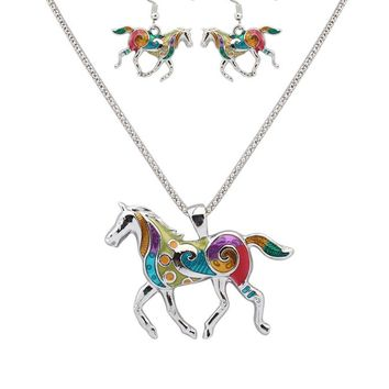 Streetstyle  Casual Silver Plated Horse Pendant Necklace