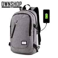 OWNSHOP Backpack 2017 Blue Women And Men Backpack Grey Black School Backpacks With USB For Phone Charge Unisex Bicycle Travel