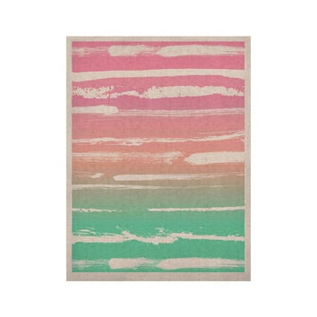 "Anneline Sophia ""Painted Stripes Pink"" Green PinkKESS Naturals Canvas (Frame not Included)"