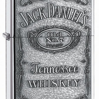 Zippo Jack Daniel's Label Pewter Emblem High Polish Chrome Lighter