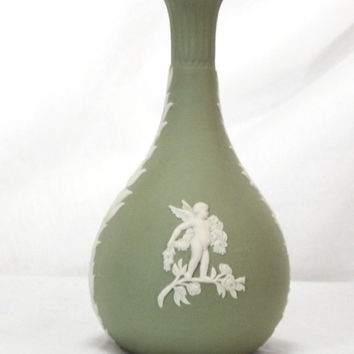 Vintage Wedgwood Jasperware Cream On Celadon Green Seasons Bud Vase