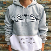 Gray Printed Hoodie Pocket Sweatshirt