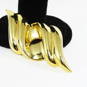 Gold Tone Ribbon Wave Pin, Signed Givenchy Wide Bar Brooch in High Polished Gold Tone Metal Plating Abstract Avant Garde Jewelry Paris NY