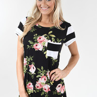 Black Floral & Striped Pocket Top
