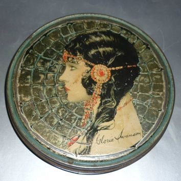1920's Gloria Swanson Tin - Made by Beautebox Canco - Artist Clive Owen