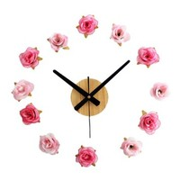 ZLYC Fresh Rural Style Romantic Rose Flowers DIY Creative Quartz Wall Stickers Clock Deco
