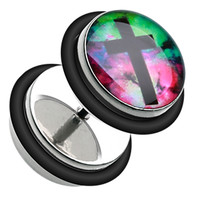 Galaxy Cross 316L Surgical Steel Fake Plug with O-Rings