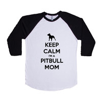 Keep Calm I'm A Pitbull Mom Puppy Doggies Doggie Dogs Pup Puppies Pet Pets Mutt Mutts Animals Animal Lover Rescue Unisex Adult T Shirt SGAL3 Baseball Longsleeve Tee