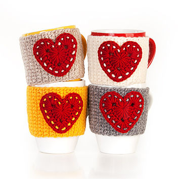 Crochet mug cozy warmer, Mug warmer, red heart, cup cozy, winter accessories, tea cozy, Set of 4, Available in two sizes