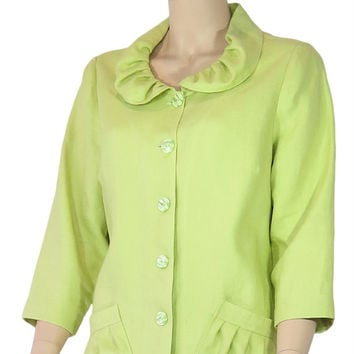 Linen Ruched Collar Jacket
