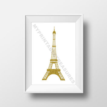 Eiffel Tower Wall Art in Gold Glitter, Paris Decoration Print, Digital Download Room Decoration, France Sign, French Design