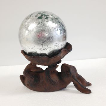 "Cast Iron Bunny with 4"" Silver Leaf Glass Gazing Globe"