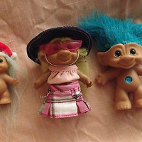 Vintage Lot of 3 Trolls Mini, Hippie and  Crystal Gem Troll