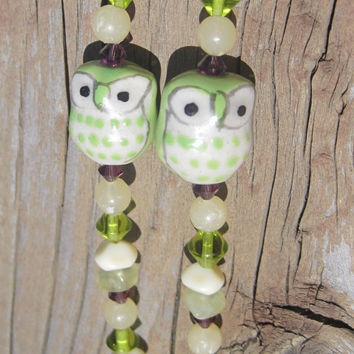 Purple and Green Beaded Identification Lanyard with Owls