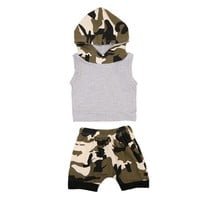 Retail 2017 Summer Toddler Baby Boy Girl Kids Hooded Vest Tops+Shorts 2pcs Outfits Clothes Set 0-24M