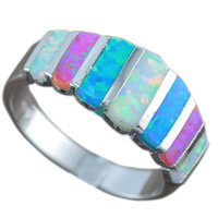 Hot Sale Blue White Pink Fire Opal For Women Fashion Prong Setting Blue Opal Rings Size 6 7 8 9 OR837