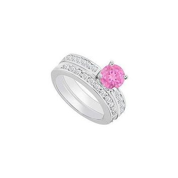 14K White Gold : Pink Sapphire and Diamond Engagement Ring with Wedding Band Set 1.30 CT TGW