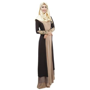3 Colors Vintage Kaftan Abaya Women Slim Muslim Dress Long Sleeve Soft Maxi Islamic 6475