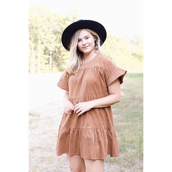 Oh! Darling S/S Tiered Corduroy Dress, Camel