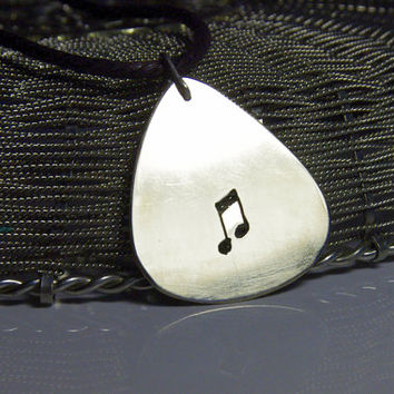 "Custom guitar pick necklace - note -large - ""Classy-Pick"" brand - gift for boyfriend, son, dad"