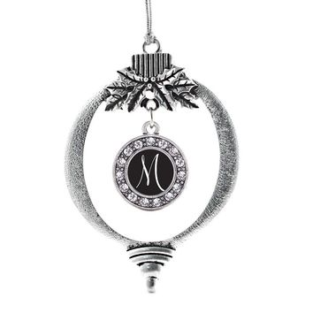 My Script Initials - Letter M Circle Charm Holiday Ornament