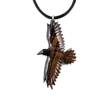 Raven Pendant, Raven Necklace, Crow Pendant, Crow Necklace, Wooden Raven Pendant, Raven Totem, Spirit Animal Raven Jewelry, Crow Jewelry