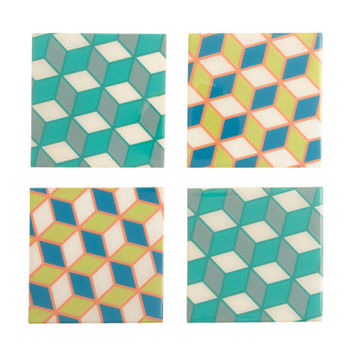 J.Crew Womens Post Studio Geometric Grid Coasters