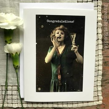 Congratulations! Funny Vintage Style Happy Graduation Congratulations Greeting Card FREE SHIPPING