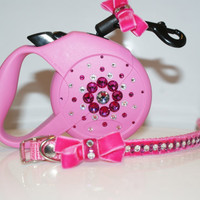 Dog Pink Collar and Lead (Flexi 3m) with Swarovski Crystals.By Crystalolika