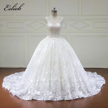 Stunning Pearls Crystal Ball Gown Cap Sleeves Wedding Dress  Illusion Back Chapel Tail Draped Gown Button Custom Size Gown