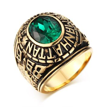 Elegant Titanium Steel 18k Gold Plated Emerald Ring for Men