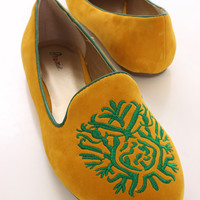 Yellow Embroidered Velvet Loafer Flats