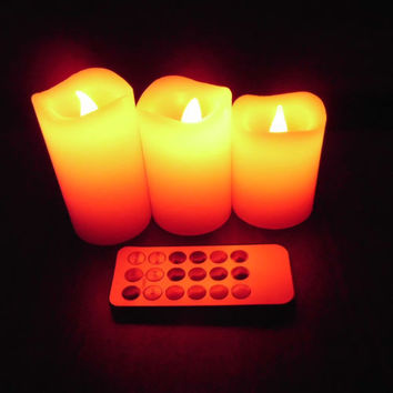 3Pcs Changed Color  Remote Control Electric Candles Flameless LED Pillar Candle Cup Tea Light for Wedding Birthday Home Decor