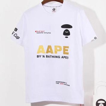 Aape x Audi co-branded stamped letter printed round neck half-sleeve T-shirt white