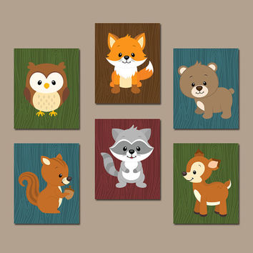 WOODLAND NURSERY Wall Art, Canvas or Prints Boy Nursery Artwork, Cute Forest Animals Deer Bear Fox Raccoon Baby Boy Bedroom Decor Set of 6