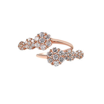 Azira Pink Gold Double Cluster Ring