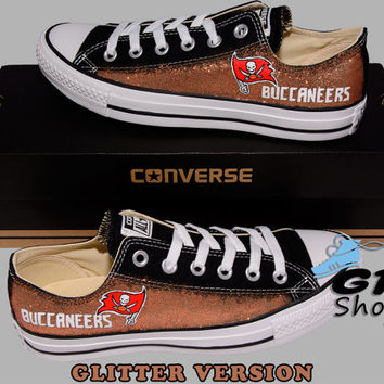 Hand Painted Converse Low. Tampa Bay Buccaneers, Football. Handpainted shoes. Glitter Version