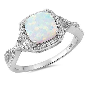 Sterling Silver Cushion Cut Created Opal Halo Twist Ring