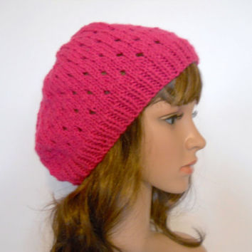 Bright Pink Slouchy Beanie in a Delicate Eyelet Pattern