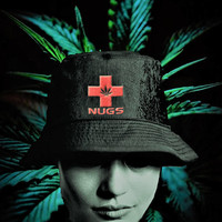 Embroidered Nugs Cross with Pot Leaf Old School Bucket Hat - Weed Hat - Unisex Beach Hat with Pot Leaf