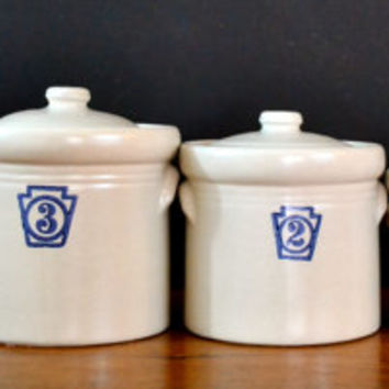 Vintage Pfaltzgraff Canisters, Numbered Containers, Stoneware Crock, Kitchen Decor, French Farmhouse