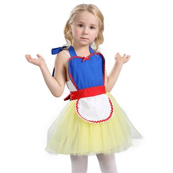 Comfortable Child Cute Snow White Princess Tutu Apron Costume Great For Bakery Or Themed Party Play Dress-Up Easy To Take Off