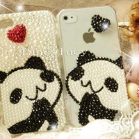 iPhone 4 Case - Cute iphone 4 case panda - Bling iphone 4 case - Best iphone 4 case - Crystal iphone 4 case - Pearl iphone 4 case cover
