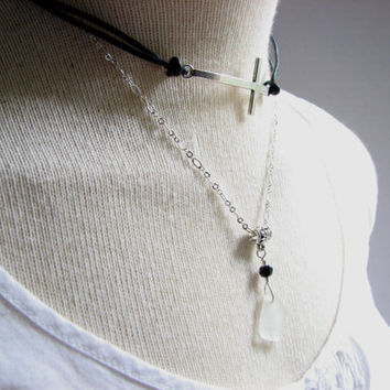 Cross Choker Necklace, Black Leather Choker with Seaglass, Double Layer Collar Necklace with Chain Necklace, Modern Sea glass Jewelry