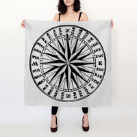 Compass Scarf - Compass Rose - Black and White - Graphic Scarf - Silk Scarf