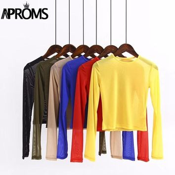 Aproms Yellow Stretch Mesh T-shirt Women Summer Streetwear Crop Top Cool Gilrs Basic Tshirt Casual Long Sleeve Sheer Tee Female