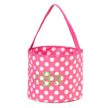 Easter Basket Pink Polka Dot Tote Bucket  -  Personalized Monogrammed