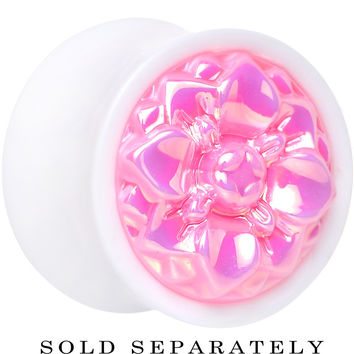 """9/16"""" White Acrylic Pretty Pink Pearlescent Flower Saddle Plug"""