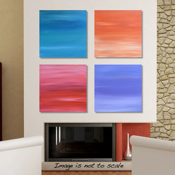 AURORA: Large Original Modern Abstract Acrylic Sky Painting Wall Art Blue, Turquoise, Orange, Red, Pink, Purple, White - 4 Canvas of 12 x 12